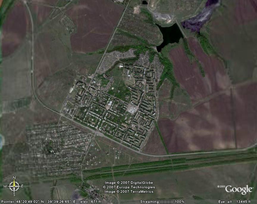 Молодогвардейск и окружающий ландшафт
